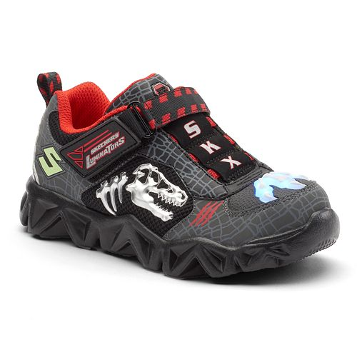 biggest discount professional sale info for Skechers Hot Lights Datarox Extinct Boys' Light-Up Shoes