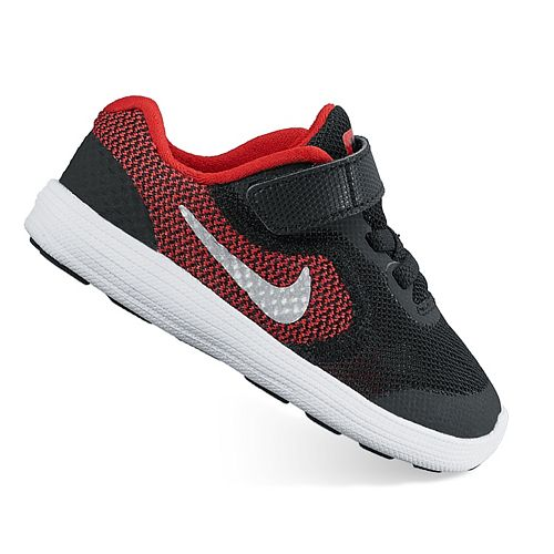 Boys Toddler NIKE REVOLUTION 3 Black Red Athletic Sneakers Shoes NEW