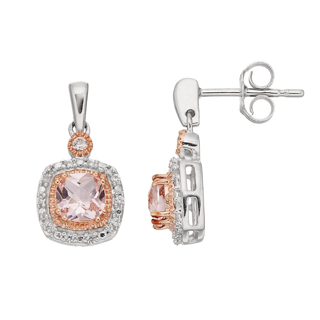 Two Tone Sterling Silver Simulated Morganite & Lab-Created White Sapphire Cushion Halo Stud Earrings