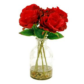 Designs by Lauren Artificial Red Roses in Clear Vase