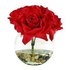 Designs by Lauren Artificial Roses in Clear Vase