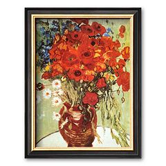 Art.com 'Vase with Daisies and Poppies' Framed Wall Art by Vincent van Gogh
