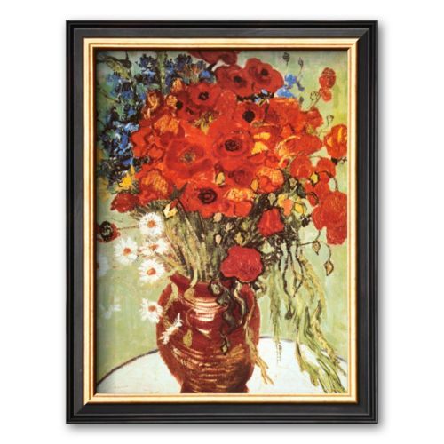 Art.com Vase with Daisies and Poppies Framed Wall Art by Vincent van Gogh