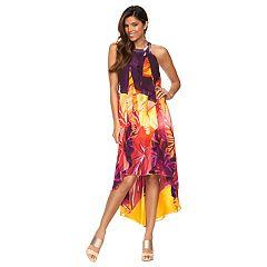 Womens Jennifer Lopez High-Low Ruffle Halter Dress by