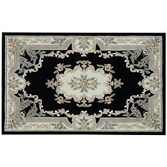 Rugs America New Aubusson Framed Floral Wool Rug
