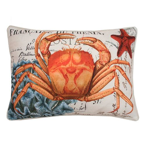 Thro by Marlo Lorenz French Coastal Crab Throw Pillow