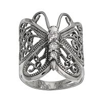 Sterling Silver Clear Cubic Zirconia Butterfly Ring