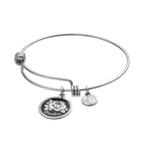 "love this life""Grandma"" Rose Disc Charm Bangle Bracelet"