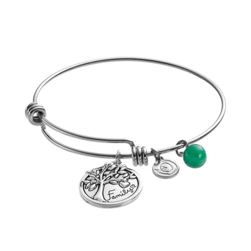 love this life Aventurine Family Tree Disc Charm Bangle Bracelet