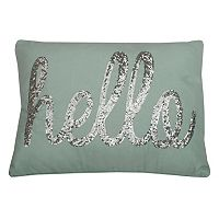 Thro by Marlo Lorenz ''Hello'' Sequin Throw Pillow