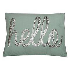 Thro by Marlo Lorenz ''Hello'' Sequin Throw Pillow