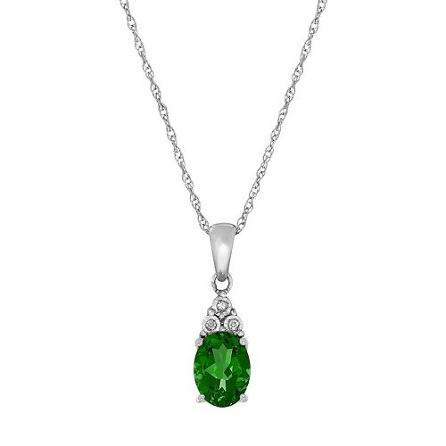 Sterling Silver Lab-Created Emerald & Diamond Accent Oval  Pendant