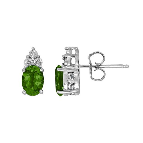 Sterling Silver Lab-Created Emerald & Diamond Accent Oval Stud Earrings