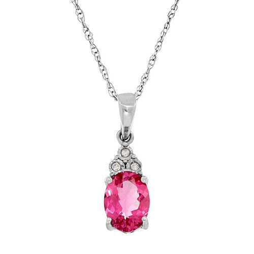 Everlasting Silver Gem Sterling Silver Lab-Created Pink Sapphire & Diamond Accent Oval Pendant