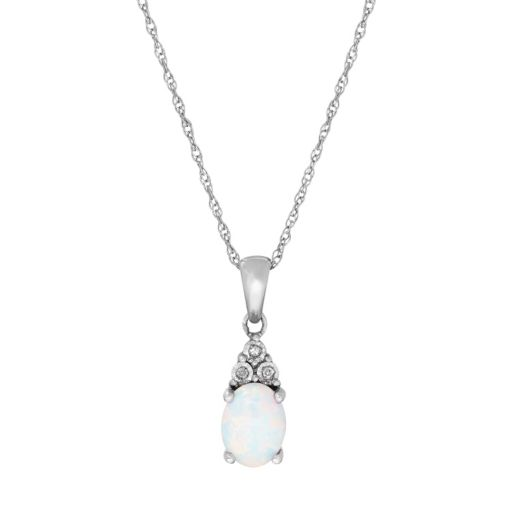 Sterling Silver Lab-Created Opal & Diamond Accent Oval  Pendant