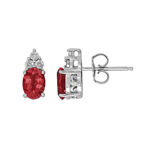 Sterling Silver Lab-Created Ruby & Diamond Accent Oval Stud Earrings