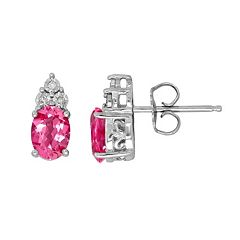 Everlasting Silver Gem Sterling Silver Lab-Created Pink Sapphire & Diamond Accent Oval Stud Earrings
