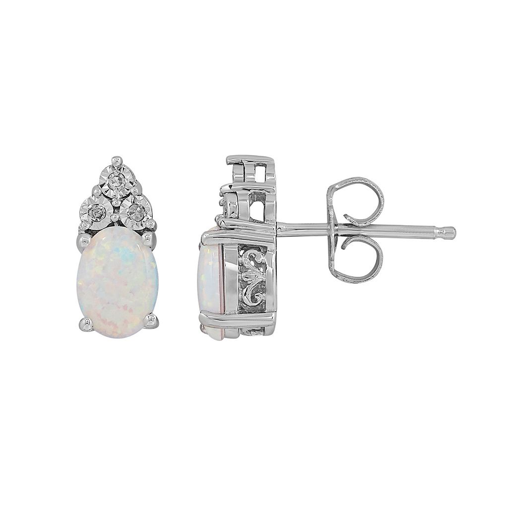 Sterling Silver Lab-Created Opal & Diamond Accent Oval Stud Earrings
