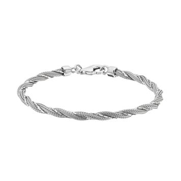Sterling Silver Twist Mesh Bracelet