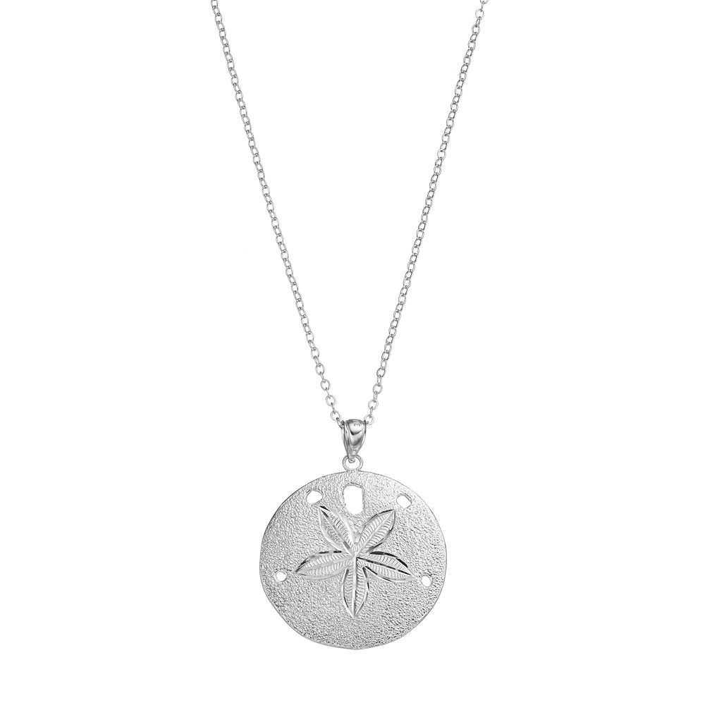 Silver sand dollar pendant necklace sterling silver sand dollar pendant necklace aloadofball Images