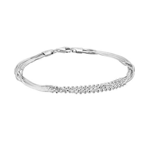 Sterling Silver Beaded Multi Strand Bracelet