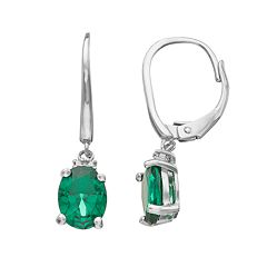 Sterling Silver Simulated Emerald & Diamond Accent Oval Drop Earrings