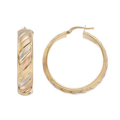 Tri-Tone Sterling Silver Striped Hoop Earrings