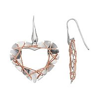 Two Tone Sterling Silver Wire Heart Drop Earrings