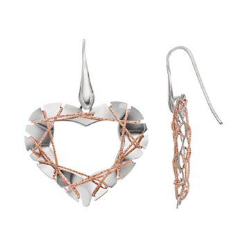 Two Tone Sterling Silver Wire Heart Drop Earrings