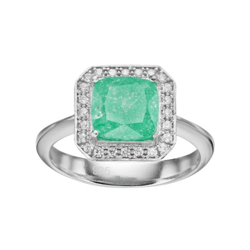 Sterling Silver Cubic Zirconia Square Halo Ring