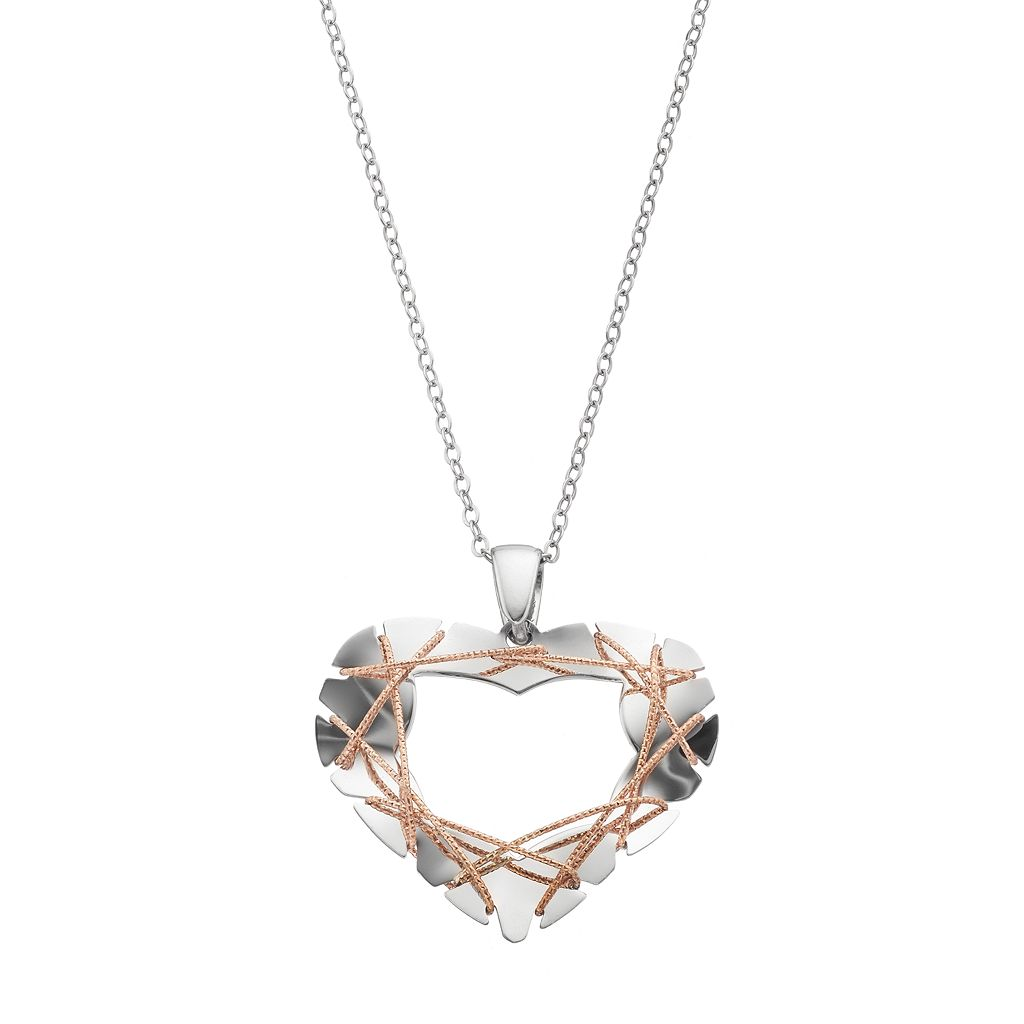 Two Tone Sterling Silver Wire Heart Pendant Necklace