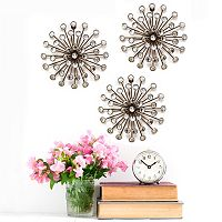 Stratton Home Decor Gold Finish Burst Metal Wall Decor 3 pc Set