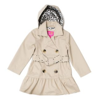 Girls 4-16 Pink Platinum Double Breasted Trench Coat