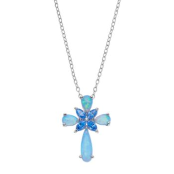 Sterling Silver Simulated Opal & Cubic Zirconia Cross Pendant Necklace