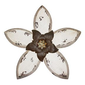 Stratton Home Decor White Antique Flower Wall Decor