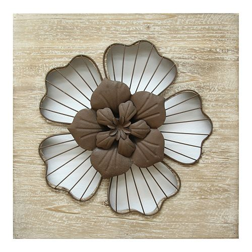 Stratton Home Decor Rustic Large Flower Metal Wall Decor