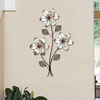 Stratton Home Decor Metallic 3-Stem Floral Metal Wall Decor