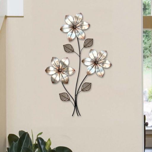 Stratton Home Decor Metallic 3-Stem Floral Metal Wall Decor