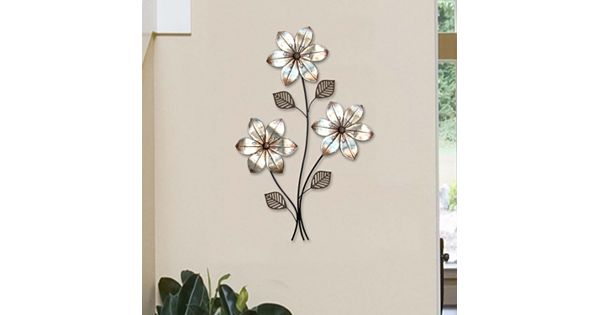 Stratton Home Decor Metallic 3 Stem Floral Metal Wall Decor