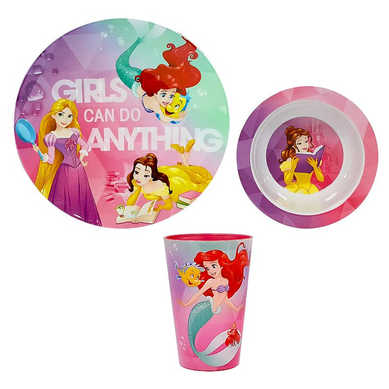 """Disney Princess """"Girls Can Do Anything"""" 3-pc. Kid's Dinnerware Set by Jumping Beans®, Multicolor"""