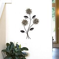 Stratton Home Decor 3-Stem Flowers Metal Wall Decor