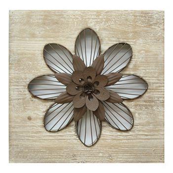 Stratton Home Decor Rustic Flower Metal Wall Decor