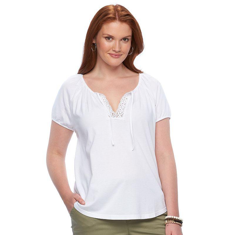 Plus Size Chaps Lace-Trim Peasant Top