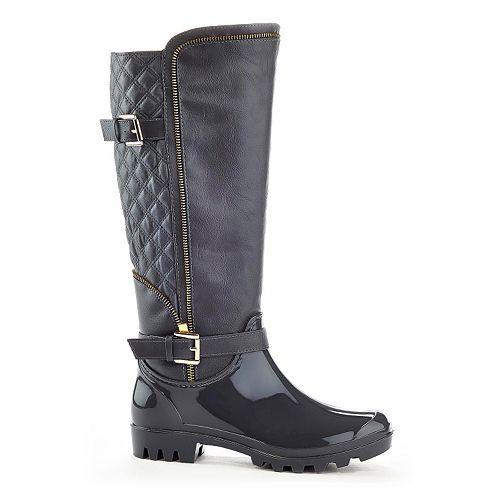 Henry Ferrera J Women's Water-Resistant Zipper Rain Boots