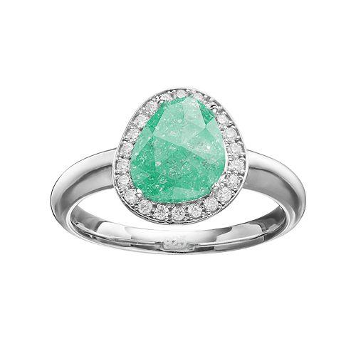 Sterling Silver Cubic Zirconia Teardrop Halo Ring