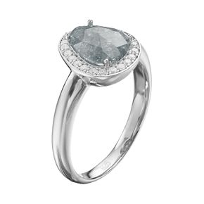 Sterling Silver Cubic Zirconia Teardrop Halo Ring