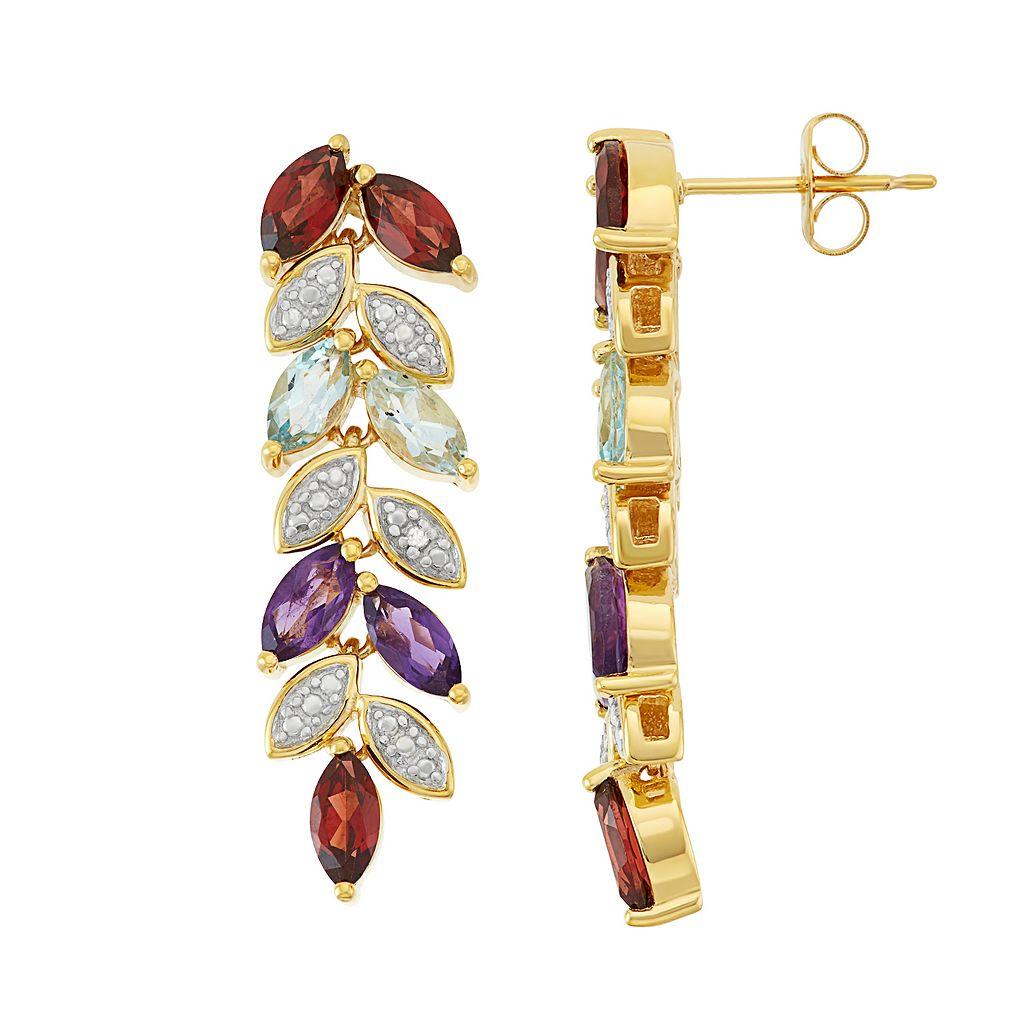 18k Gold Over Silver Gemstone Leaf Linear Drop Earrings