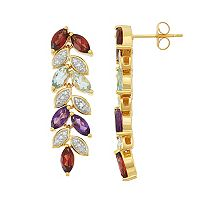 18k Gold Over Silver Gemstone Leaf Linear Drop Earrings
