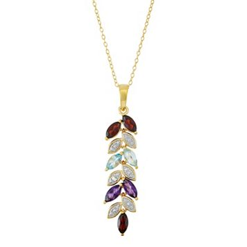 18k Gold Over Silver Gemstone & Diamond Accent Leaf Pendant