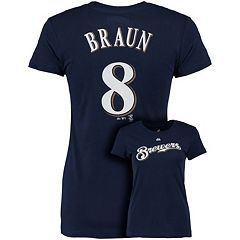 Plus Size Majestic Milwaukee Brewers Ryan Braun Player Name and Number Tee